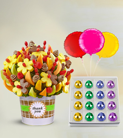 Thank You Fruit Bouquet, Treasured Delicacies Gemstone Chocolates & Balloon Bouquet