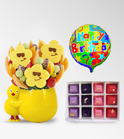 Little Chikadee Fruit Bouquet, Four Seasons Gemstone Chocolates & Birthday Balloon