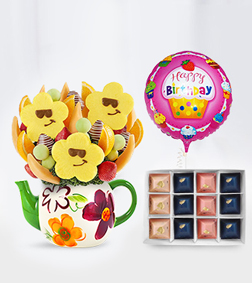 Smiley Teapot Fruit Bouquet, Gourmet Gratitude Chocolates & Birthday Balloon