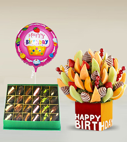 Birthday Fruit Bouquet with Assorted Dates Box with Balloon