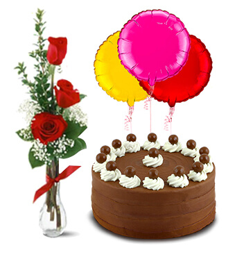 Birthday Surprise Collection : Signature Chocolate Cake, 3 Red Roses