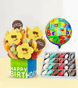 Birthday Treats Fruit Bouquet with Decadent Dipped Dates Box & Birthday Balloon