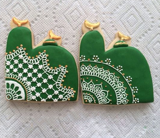 Intricate Green Ramadan Cookies