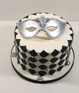 Silver Masquerade New Year Cake