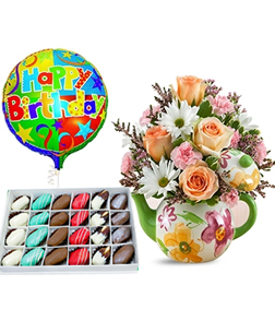 Teapot full of Blooms Birthday Bundle with Decadent Dipped Dates Box