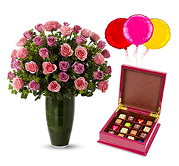 Starry Eyed Surprise - Luxury Rose Bouquet with Balloons and Signature Select Chocolates B
