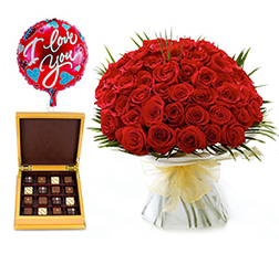 The Love Letter - 50 Hand-tied Roses with Balloons and Signature Select Chocolates By Ann