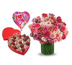 Celebrate Love - Rose Bouquet with Dipped Strawberry Heart Box and Balloons