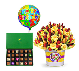 Lusciously Grand Birthdays - Fruit Bouquet Pail with Balloon and Chocolates by Annabelle C