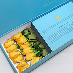 My Sunshine - Long Stem Yellow Roses in Blue Box