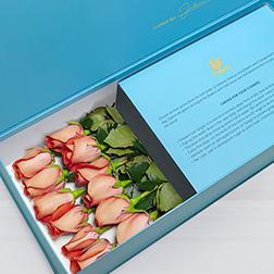 Blushing Love - Long Stem Peach Roses in Blue Box