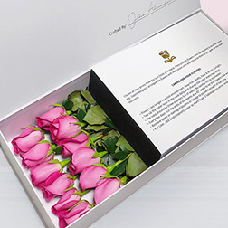Pretty in Pink - Long Stem Dark Pink Roses in White Box