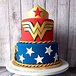 Wonder Woman Colors Tiered Cake