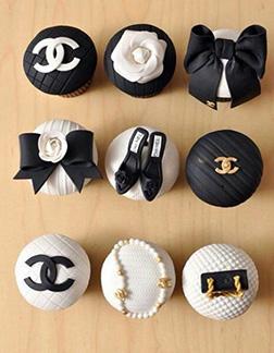 Monochrome Chanel Dozen Cupcakes