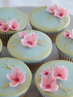 Intricate Cherry Blossoms Dozen Cupcakes