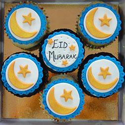 Golden Crescents Dozen Eid Cupcakes
