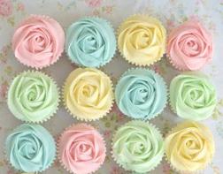 Pastel Rainbow Swirls Dozen Cupcakes