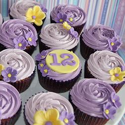 Purple Swirls Floral Dozen Cupcakes