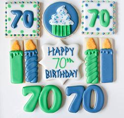 Blue & Green Birthday Cookies