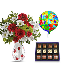 Lovely Ladybug Bouquet with Divine Assortment Chocolate Box & Birthday Balloon