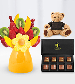 Best Kept Secret Fruit Bouquet with The Coveted Chocolate Box & Teddy Bear
