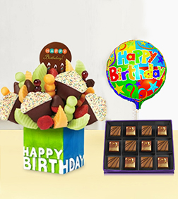 Confetti Birthday Cupcake Fruit Design with Heart of Cocoa Chocolate Box & Birthday Balloo