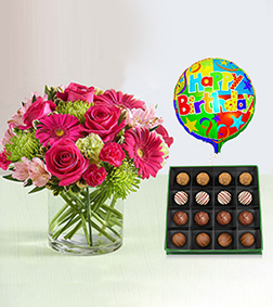 Pink Me Up Bouquet with Royal Heritage Truffles Box & Birthday Balloon