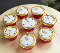 Gold Watches New Year Cupcakes