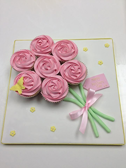 Pink Rose Bouquet Cupcakes
