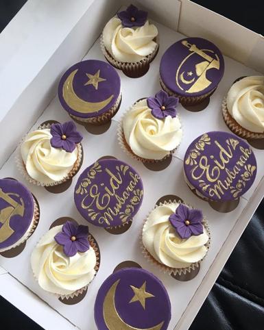 Royal Purple Eid Cupcakes