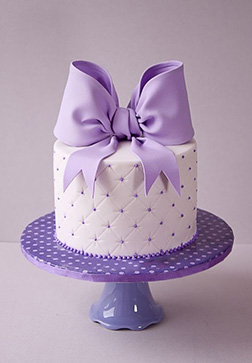 Lilac Quilted Bow Cake