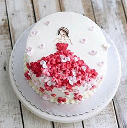 Red Petal Princess Cake