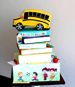 Back To School Bus and Books Cake