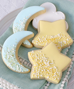 Pastel Moon and Star Cookies