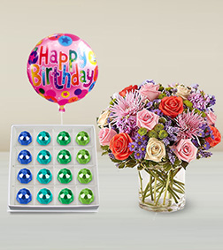 Beauty In Abundance Bouquet, Gemstone Jackpot Chocolates Box & Birthday Balloon