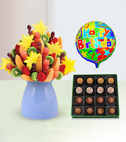 Fruity Abundance Fruit Bouquet, Royal Heritage Truffles Box & Birthday Balloon