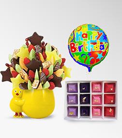 Little Chikadee Fruit Bouquet, Four Seasons Gemstone Chocolates & Birthday Balloon