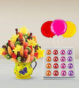 Butterfly Serenity Fruit Bouquet, Bejeweled Delicacy Gemstone Chocolates & Balloon Bouquet
