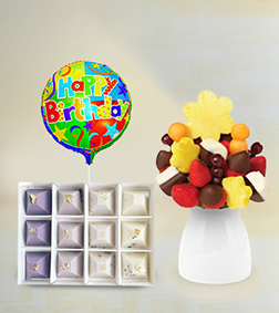 Wondrous Wishes Fruit Bouquet, Artisanal Excellence Chocolates & Birthday Balloon