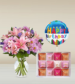 Floral Elegance Bouquet, Sweet Sunset Chocolate Jewels & Birthday Balloon