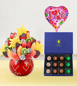 Hearts & Kisses Fruit Bouquet, The Signature Truffles Box & Love Balloon
