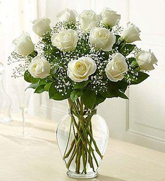 Pure Joy White Roses Bouquet