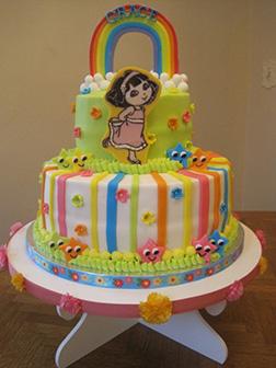 Rainbow Dora the Explorer Birthday Cake