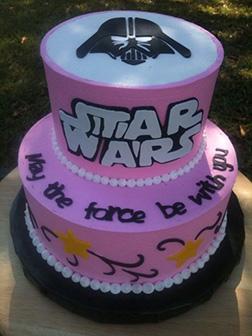 Pink Tiered Vader Star Wars Birthday Cake