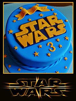 Classic Blue and Orange Star Wars Birthday Cake