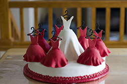 Ladies in Red Bridal Shower Cake