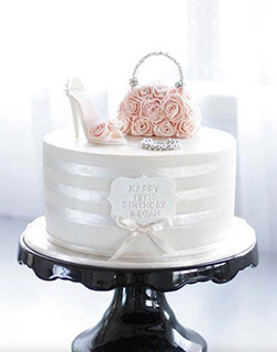 Chic Rose Purse Bridal Shower Cake