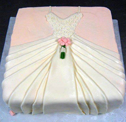 White and Pink Gown Bridal Shower Cake