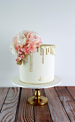 Golden Drip Floral Wedding Cake