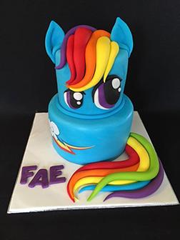 Rainbow Dash Tiered Cake